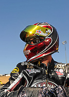 Jul. 17, 2010; Sonoma, CA, USA; NHRA pro stock motorcycle rider Matt Smith during qualifying for the Fram Autolite Nationals at Infineon Raceway. Mandatory Credit: Mark J. Rebilas-