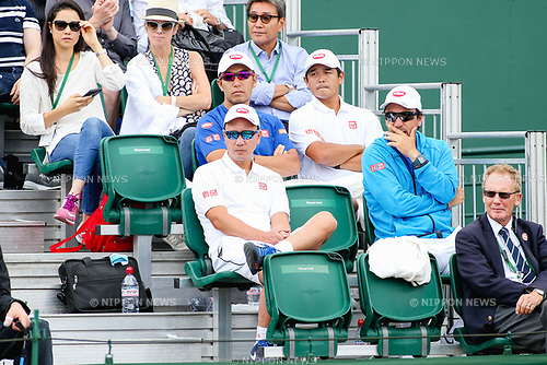 (L-R) Michael Chang, Koichi Nakao and Dante Bottini, JULY 3, 2017 - Tennis : (L-R) Michael Chang, Koichi Nakao and Dante Bottini, coaches of Japan's Kei Nishikori during the Men's singles first round match of the Wimbledon Lawn Tennis Championships against Marco Cecchinato of Italy at the All England Lawn Tennis and Croquet Club in London, England. (Photo by AFLO)