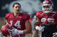 NWA Democrat-Gazette/BEN GOFF @NWABENGOFF<br /> Chase Harrell (left) and Cheyenne O'Grady, Arkansas tight ends warm up, Wednesday, Aug. 7, 2019, at the Arkansas practice fields in Fayetteville.