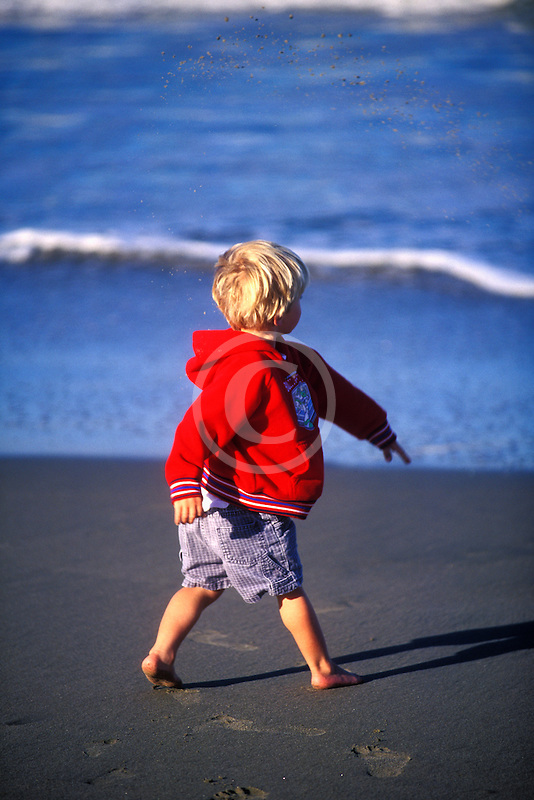 California, Santa Cruz County, Pajaro Dunes, Boy on beach