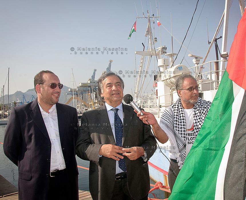 Leoluca Orlando con Adham Darawsha e Zaher Darwish.