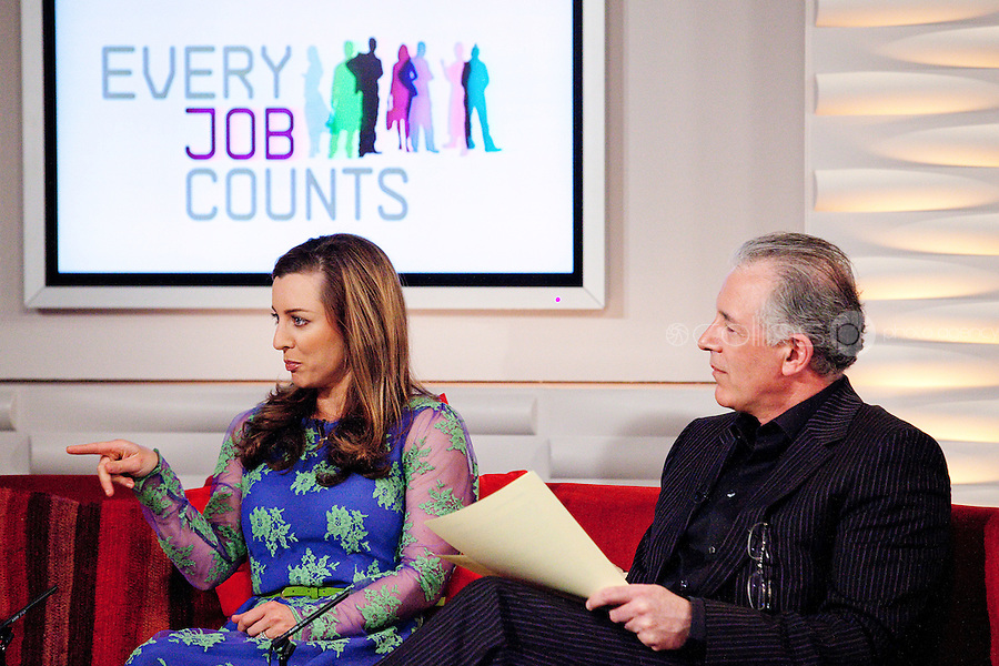 NO REPRO FEE. 7/4/2011. Minister Richard Bruton launches TV3's 'Every Job Counts' campaign.  Mark Cagney and Sinead Desmond are pictured at TV3 Studios during an interview for Ireland am in order to launch TV3's new campaign - Every Job Counts'  which aims to highlight and publicise Irish based companies which are creating new jobs in these tough economic times. During April TV3 will highlight the Trojan work undertaken by thousands of Irish businesses which strive to exploit the opportunities which can come out of economic decline and stagnation and which endeavor to grow turnover and employment. Businesses big and small are urged to log onto TV3.ie/Everyjobcounts  and tell us how many jobs they have created recently or over the past 12 months and how they managed to do it against all the odds. The most inspiring stories will be filmed and broadcast on TV3's News at 5.30, Ireland am and Midweek during the month. As a further source of assistance and help, TV3 will offer a EUR50,000 advertising and promotional bursary for the most inspiring story of job creation we receive over the course of the month. Details on how to enter TV3's Every Job Counts campaign can be found at:  www.tv3.ie/everyjobcounts Picture James Horan/Collins Photos
