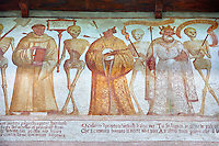 "The Church of San Vigilio in Pinzolo and its fresco paintings ""Dance of Death"" ( Danza macabra)  painted by Simone Baschenis of Averaria in1539, Pinzolo, Trentino, Italy"