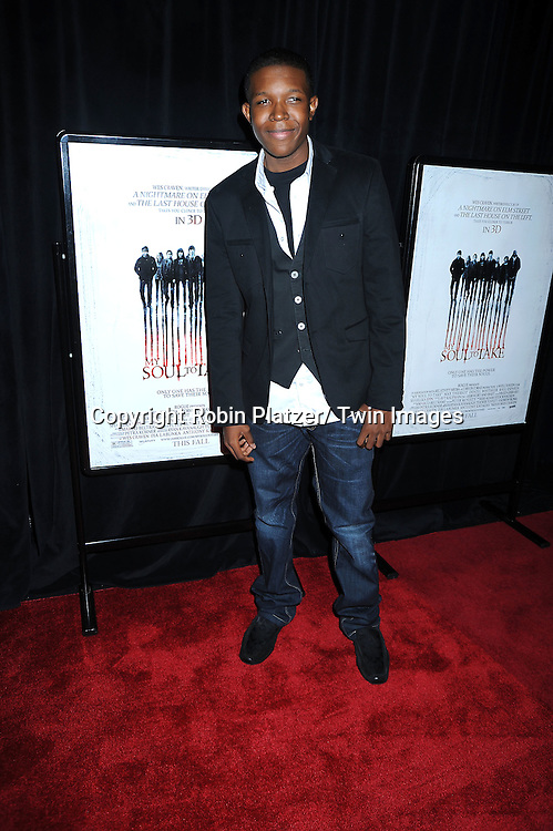 """Denzel Whitaker posing for photographers at a special screening of """"My Soul to Take"""" on October 6, 2010 at The AMC Loews Lincoln Square in New York City."""