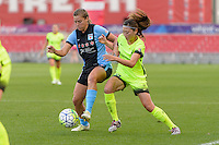 Chicago, IL - Sunday Sept. 04, 2016: Sofia Huerta, Rumi Utsugi during a regular season National Women's Soccer League (NWSL) match between the Chicago Red Stars and Seattle Reign FC at Toyota Park.