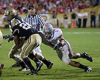 06 October 2007: Ohio State linebacker Marcus Freeman (1)..The Ohio State Buckeyes defeated the Purdue Boilermakers 23-7 on October 06, 2007 at Ross-Ade Stadium, West Lafayette, Indiana.