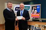 Tom Wall (R) Flo Gas presents a cheque to Joe Sweeney from St Vincent de Paul in Drogheda.<br /> Picture: Fran Caffrey www.newsfile.ie