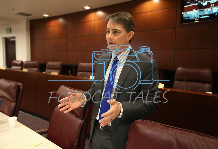 Nevada Economic Forum Chair Ken Wiles answers media questions following a meeting at the Legislative Building in Carson City, Nev., on Friday, May 1, 2015. <br /> Photo by Cathleen Allison