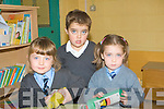 WELCOMING: Teacher Majella Keane center who welcomed her two new pupils to Dromerin NS Listowel on Thursday. l-r: Muirish O'Neill, Majella Keane (teacher) and Mark Dickenson.... ....
