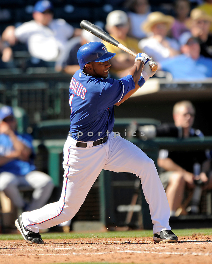 ELVIS ANDRUS, of the Texas Rangers, in action  during the Rangers  game against the Kansas City Royals  on February 25, 2009 in Glendale , Arizona. RangerS beat the Royals 12-5.