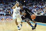 03 February 2013: Duke's Alexis Jones (right) and North Carolina's Danielle Butts (10). The University of North Carolina Tar Heels played the Duke University Blue Devils at Carmichael Arena in Chapel Hill, North Carolina in an NCAA Division I Women's Basketball game. Duke won the game 84-63.