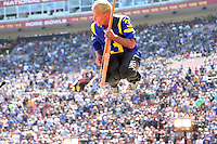 091816 Los Angeles, CA: Flea and The Red hot Chili Peppers perform at the Los Angeles Memorial Coliseum before the Los Angeles Rams 2016 home opener