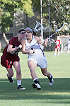 Los Angeles, CA 02/08/13 - Kelsey Palmer  (Umass #10) and Kat DeRonda  (Northwestern #4) in action during the Northwestern vs UMass NCAA Women's Lacrosse game at USC's McAlister Field.