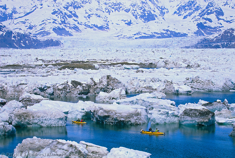 Kayakers paddle amongst glacier ice bergs from the Columbia Glacier, Prince William Sound, Alaska.