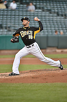 Salt Lake Bees starting pitcher Jose Alvarez (19) delivers a pitch to the plate against the Las Vegas 51s at Smith's Ballpark on May 8, 2014 in Salt Lake City, Utah.  (Stephen Smith/Four Seam Images)