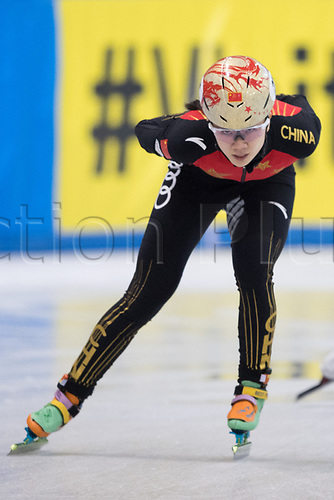 01 February 2019, Saxony, Dresden: Shorttrack: World Cup, quarter finals, 1500 meters women in the EnergieVerbund Arena. Yihan Guo from China on the track.