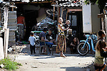 People on a street in Suto Orizari, Macedonia. The mostly Roma community, located just outside Skopje, is Europe's largest Roma settlement. .