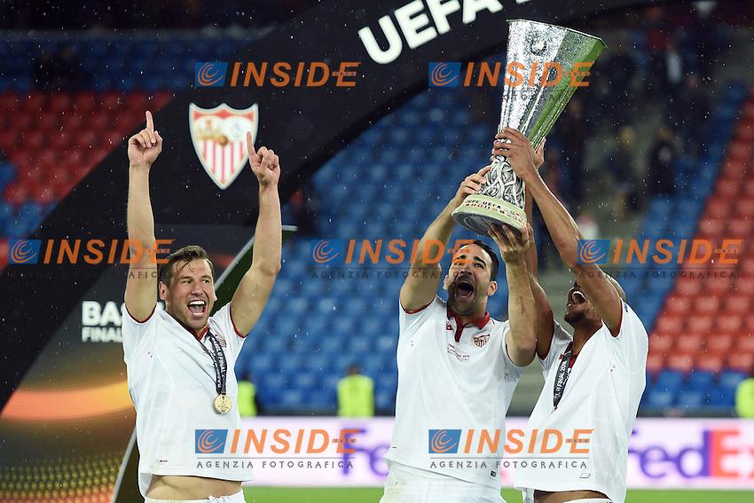 Grzegorz  Krychowiak, Adil Rami e Sergio Escudero.<br /> Basilea (Svizzera) 18-05-2016 - finale Europa League / Liverpool-Siviglia. <br /> Foto Matteo Gribaudi / Image Sport / Insidefoto