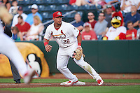 Springfield Cardinals first baseman Jonathan Rodriguez (28) during a game against the Frisco RoughRiders  on June 4, 2015 at Hammons Field in Springfield, Missouri.  Frisco defeated Springfield 8-7.  (Mike Janes/Four Seam Images)