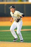 Wake Forest Demon Deacons second baseman Jimmy Redovian (23) on defense against the North Carolina State Wolfpack at Wake Forest Baseball Park on March 15, 2013 in Winston-Salem, North Carolina.  The Wolfpack defeated the Demon Deacons 12-6.  (Brian Westerholt/Four Seam Images)