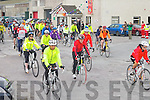 THERE OFF: The start of the Kingdom Care Charity Shop Cycle at Tralee Mart on Saturday.