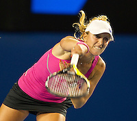 ANASTASIA RODIONOVA (AUS) against  CAROLINE WOZNIACKI (DEN) in the first round of the Women's Singles. Caroline Wozniacki beat Anastasia Rodionova 6-2 6-1..16/01/2012, 16th January 2012, 16.01.2012..The Australian Open, Melbourne Park, Melbourne,Victoria, Australia.@AMN IMAGES, Frey, Advantage Media Network, 30, Cleveland Street, London, W1T 4JD .Tel - +44 208 947 0100..email - mfrey@advantagemedianet.com..www.amnimages.photoshelter.com.