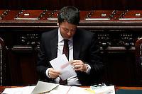Matteo Renzi riceve una lettera contenente un segnalibro <br /> Roma 18-03-2015 Camera. Informativa del Presidente del Consiglio sul Consiglio Europeo. Speech of the Premier.<br /> Photo Samantha Zucchi Insidefoto