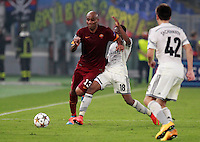 Calcio, Champions League, Gruppo E: Roma vs CSKA Mosca. Roma, stadio Olimpico, 17 settembre 2014.<br /> Roma defender Maicon, of Brazil, left, is challenged by CSKA Moskva forward Ahmed Musa, of Nigeria, during the Group E Champions League football match between AS Roma and CSKA Moskva at Rome's Olympic stadium, 17 September 2014.<br /> UPDATE IMAGES PRESS/Isabella Bonotto