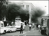 BNPS.co.uk (01202 558833)<br /> Pic: BNPS.co.uk<br /> <br /> 25th July 1976 The day Hants and Dorset bus station, Bournemouth, caught on fire.<br /> <br /> A bus enthusiast who once ran into a burning building to rescue a double-decker has saved it again after buying it for a restoration project 40 years later.<br /> <br /> Trevor Shore was an 18-year-old conductor when he repeatedly dashed into a blazing bus station in 1976 to drive three of the vehicles to safety in the nick of time.<br /> <br /> Forty years on and Trevor, 58, from Poole, Dorset, has saved one of the three Bristol FLF Lodekka double-deckers from leaving the country after buying it for &pound;13,000.
