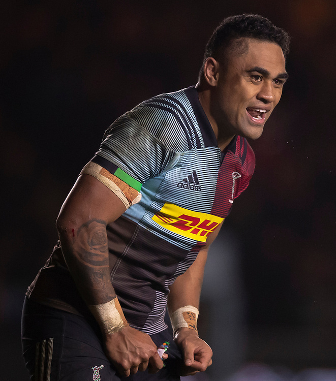 Harlequins' Francis Saili<br /> <br /> Photographer Bob Bradford/CameraSport<br /> <br /> Gallagher Premiership Round 9 - Harlequins v Exeter Chiefs - Friday 30th November 2018 - Twickenham Stoop - London<br /> <br /> World Copyright &copy; 2018 CameraSport. All rights reserved. 43 Linden Ave. Countesthorpe. Leicester. England. LE8 5PG - Tel: +44 (0) 116 277 4147 - admin@camerasport.com - www.camerasport.com
