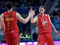 Cai Zaragoza's Sam Van Rossom and Pedro Llompart during Liga Endesa ACB match.November 11,2012. (ALTERPHOTOS/Acero) /NortePhoto