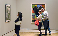 Visitors to the Elvehjem Musuem of Art look at paintings by Jim Dine. The annual Arts Night Out! outreach events on Saturday, September 20, 2003 included performances of dance, opera, and classical music, films and five art exhibits. The Elvehjem was renamed the Chazen Museum of Art in May 2005.<br /> <br /> Client: University of Wisconsin-Madison<br /> &copy; UW-Madison University Communications 608-262-0067<br /> Photo by: Michael Forster Rothbart<br /> Date: 9/03    File#:   D100 digital camera frame 9991