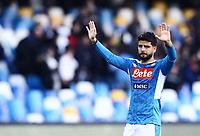 9th February 2020; Stadio San Paolo, Naples, Campania, Italy; Serie A Football, Napoli versus Lecce; Lorenzo Insigne of Napoli thanks the fans for their support