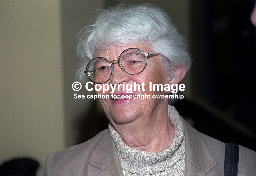 Dorita Field, prominent member of SDLP, one-time member of Belfast City Council. Ref: 199911053. Taken at Social Democratic &amp; Labour (SDLP) Conference in Belfast.<br /> <br /> Copyright Image from Victor Patterson,<br /> 54 Dorchester Park, <br /> Belfast, UK, BT9 <br /> <br /> t1: +44 28 9066 1296 (from Rep of Ireland 048 90661296)<br /> t2: +44 28 9002 2446 (from Rep of Ireland 048 9002 2446)<br /> <br /> m: +44 7802 353836<br /> <br /> e: victorpatterson@me.com<br /> www.victorpatterson.com<br /> <br /> Please see my Terms and Conditions of Use at www.victorpatterson.com. It is IMPORTANT that you familiarise yourself with them.<br /> <br /> Images used on the Internet must be visibly watermarked i.e. &copy; Victor Patterson<br /> within the body of the image and copyright metadata must not be deleted. Images <br /> used on the Internet have a size restriction of 4kbs and will be chargeable at current<br />  NUJ rates unless agreed otherwise.<br /> <br /> This image is only available for the use of the download recipient i.e. television station, newspaper, magazine, book publisher, etc, and must not be passed on to any third <br /> party. It is also downloaded on condition that each and every usage is notified within 7 days to victorpatterson@me.com<br /> <br /> The right of Victor Patterson to be identified as the author is asserted in accordance with The Copyright Designs And Patents Act (1988). All moral rights are asserted.