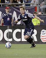 New England Revolution forward Zack Schilawski (15) prepares to cross the ball to the center.  The New England Revolution drew FC Dallas 1-1, at Gillette Stadium on May 1, 2010