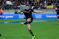 NZ's Beauden Barrett clears during the Steinlager Series international rugby match between the New Zealand All Blacks and France at Westpac Stadium in Wellington, New Zealand on Saturday, 16 June 2018. Photo: Dave Lintott / lintottphoto.co.nz