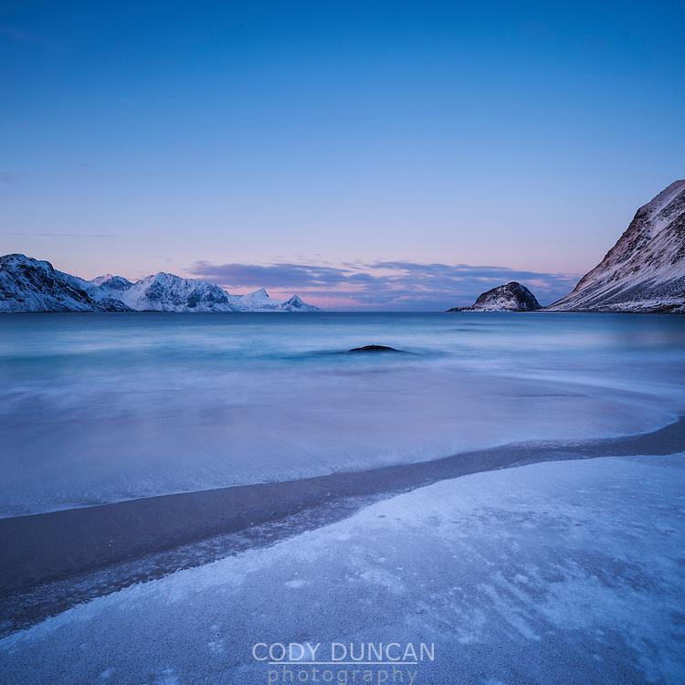 Winter dawn at Haukland beach, Vestvågøy, Lofoten Islands, Norway