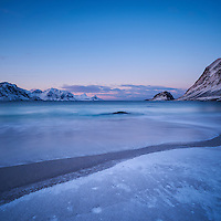 Winter dawn at Haukland beach, Vestvågøy, Lofoten Islands, Norway