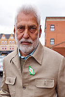 Comrade Harpal Brar in Southall after attending a Saklatvala Hall Commemoration which celebrated the centenary of  Kim Il-sung's birth, sporting an Easter Lilly, Easter Sunday 2012