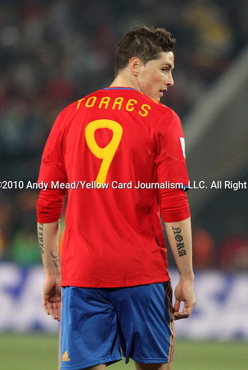 21 JUN 2010: Fernando Torres (ESP). The Spain National Team defeated the Honduras National Team 2-0 at Ellis Park Stadium in Johannesburg, South Africa in a 2010 FIFA World Cup Group H match.