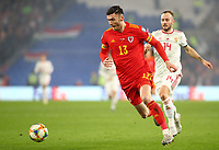 19th November 2019; Cardiff City Stadium, Cardiff, Glamorgan, Wales; European Championships 2020 Qualifiers, Wales versus Hungary; Kieffer Moore of Wales makes a run with the ball - Editorial Use