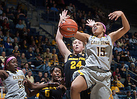 Brittany Boyd of California fights for a loose ball during the game against Arizona State at Haas Pavilion in Berkeley, California on February 16th, 2014.  California defeated Arizona State, 74-63.