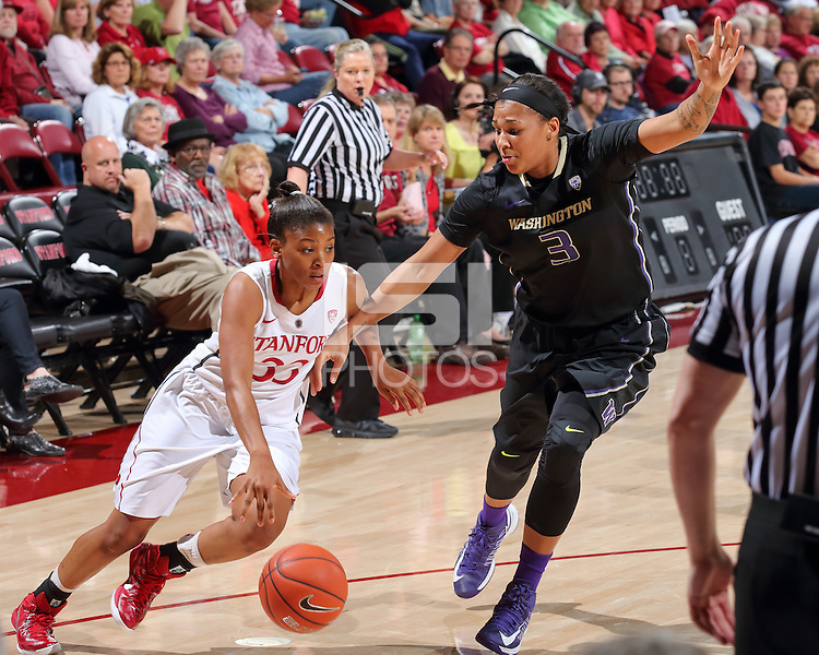 STANFORD, CA - February 2, 2015: Stanford Cardinal vs the Washington Huskies at Maples Pavilion.  The Cardinal defeated the Huskies 82-69.