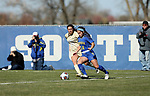 BROOKINGS, SD, OCTOBER 21: Bianca Madonia #24 from South Dakota State controls the ball in front of Jessica Misquez #23 from Oral Roberts during their match Sunday afternoon at Fischback Soccer Field in Brookings. (Dave Eggen/Inertia)