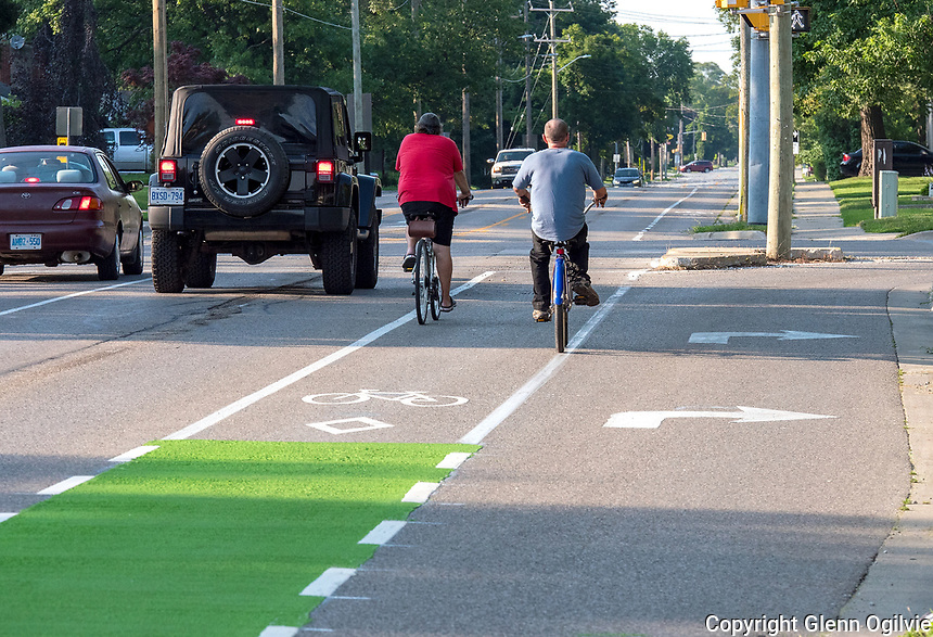 Bicycle lanes on Colborne at the Michigan Ave., intersection