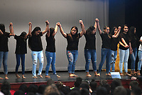 NWA Democrat-Gazette/J.T. WAMPLER   Sonora Middle School's Island Girls dance group takes a bow Thursday March 29, 2018 during an assembly to celebrate being named an Arkansas Diamond School to Watch. Schools are recognized with this honor based on their record of academic excellence, developmental responsibility to students and social equity. Springdale has four of the 12 schools in Arkansas that have this distinction.