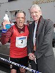 Joe Rooney who finished the Boyne 10K pictured with Drogheda Independent editor Hubert Murphy. Photo: Colin Bell/pressphotos.ie