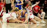 VERMILLION, SD - JANUARY 19: Lindsey Theuninck #3 of the South Dakota State Jackrabbits battles for the loose ball with Taylor Frederick #15 and Chloe Lamb #22 of the South Dakota Coyotes at the Sanford Coyote Center on January 19, 2020 in Vermillion, South Dakota. (Photo by Dave Eggen/Inertia)