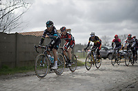 Michal Kwiatkowski (POL/SKY) over the Paddenstraat cobbles<br /> <br /> E3 - Harelbeke 2016
