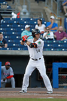 Norfolk Tides outfielder Christian Walker (14) at bat during a game against the Louisville Bats at Harbor Park on April 26, 2016 in Norfolk, Virginia. Louisville defeated defeated Norfolk 7-2. (Robert Gurganus/Four Seam Images)
